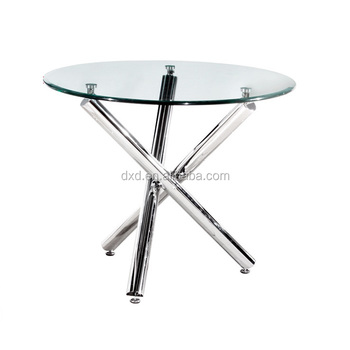 Tempered Glass Metal Base Round Coffee Table Meeting Reception