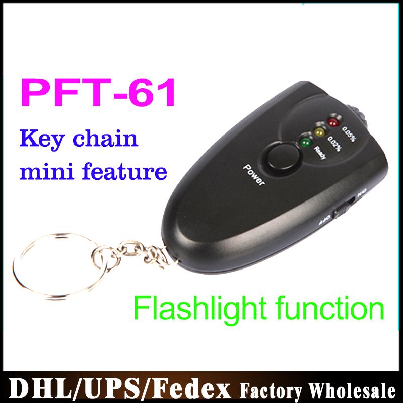 Dhl Fedex UPS50pcs / много из светодиодов алкоголь тестер брелок анализатор дыхания алкотестер PFT-61 брелок факельным