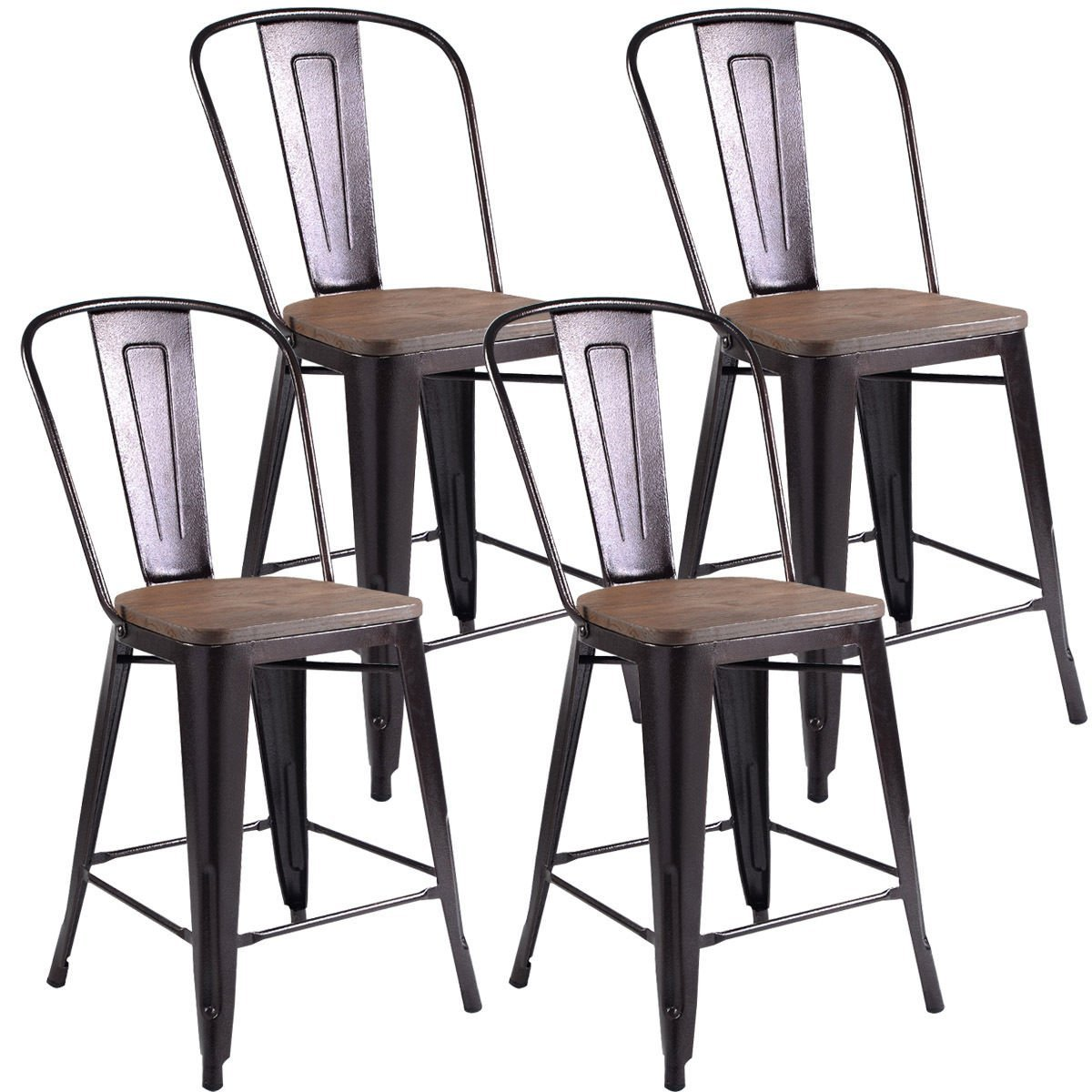 Global House Products GHP 4-Pcs 330-Lbs Capacity Natural Vintage Iron Counter Height Stools with Footrest