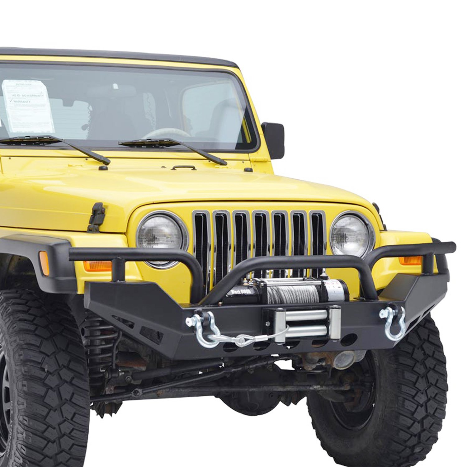 E-Autogrilles 87-06 Jeep Wrangler TJ/YJ Black Textured Xtreme Front Bumper with Winch Plate&D-Rings (51-0029)