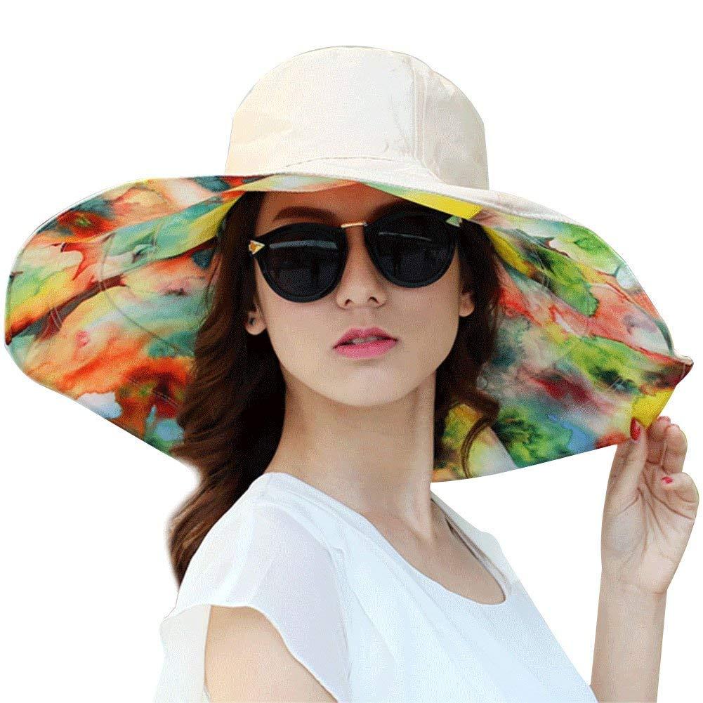 Get Quotations · ITODA Women Sun Hat Summer Foldable Reversible UPF 50+  Beach Bucket Large Wide Brim Anti 33b322201d2c