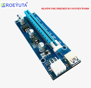 New Red PCI-E Riser PCI 1x to 16x PCI-E 16x Riser Card 15Pin SATA Molex USB3.0 BTC Litecoin ETH VER 006C 007s