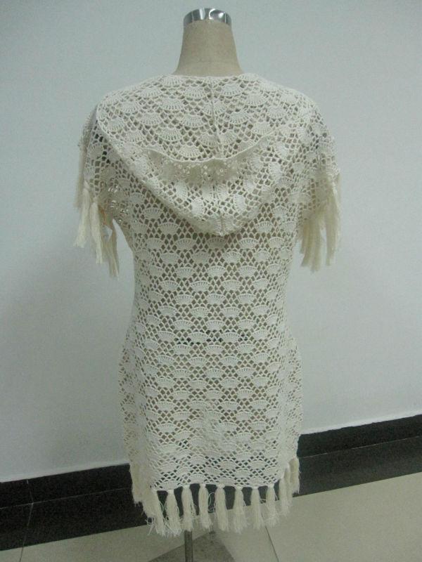 algodón crochet largo abrigo con capucha con la borla ribete patrón ...