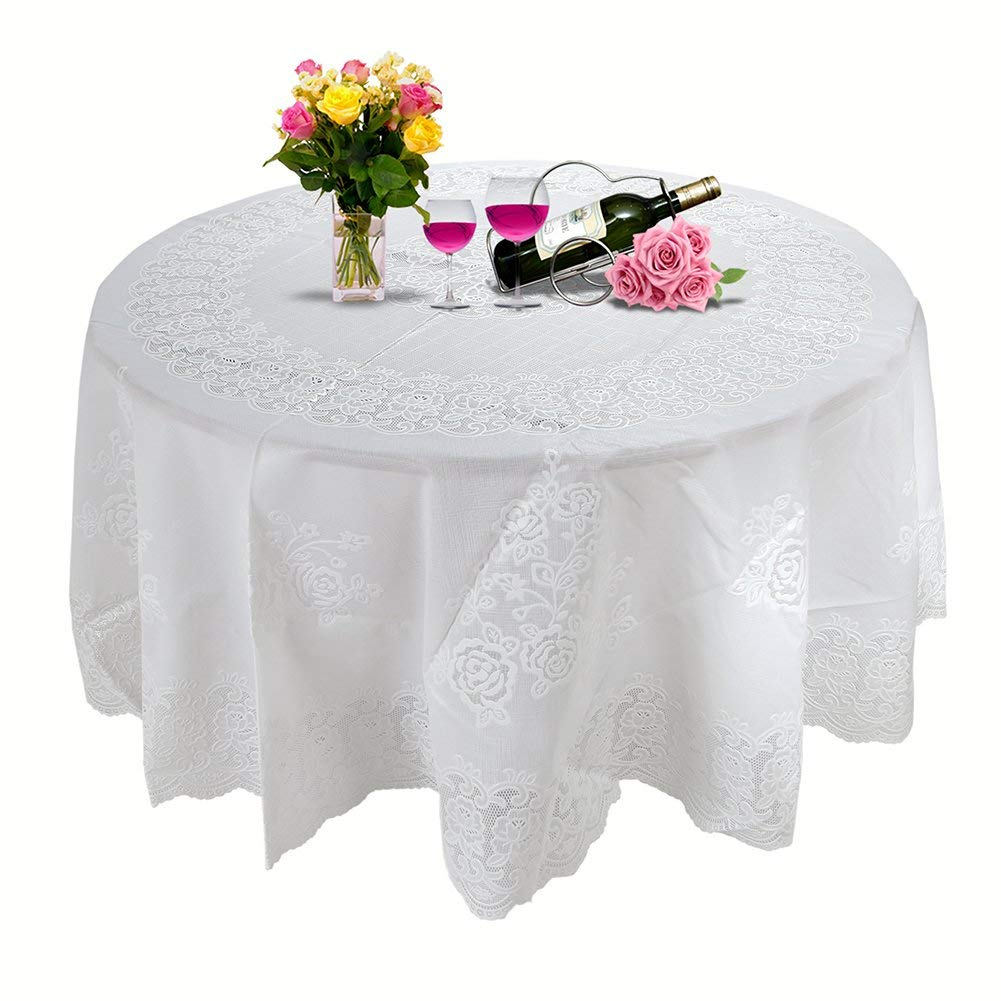 70 Inches Large Tablecloth Round, E Lip Bronzing Waterproof White Vinyl  Tablecloth For Kitchen