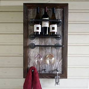 Wall Mounted Wine Rack zyfun Industrial Wine Racks Wall Mounted with Stemware Racks with 4 Stem Glass Holder 23.62 Rustic Metal Hanging Wine Holder Retro Metal/&Wood Shelves Home Decor Wall Shelf