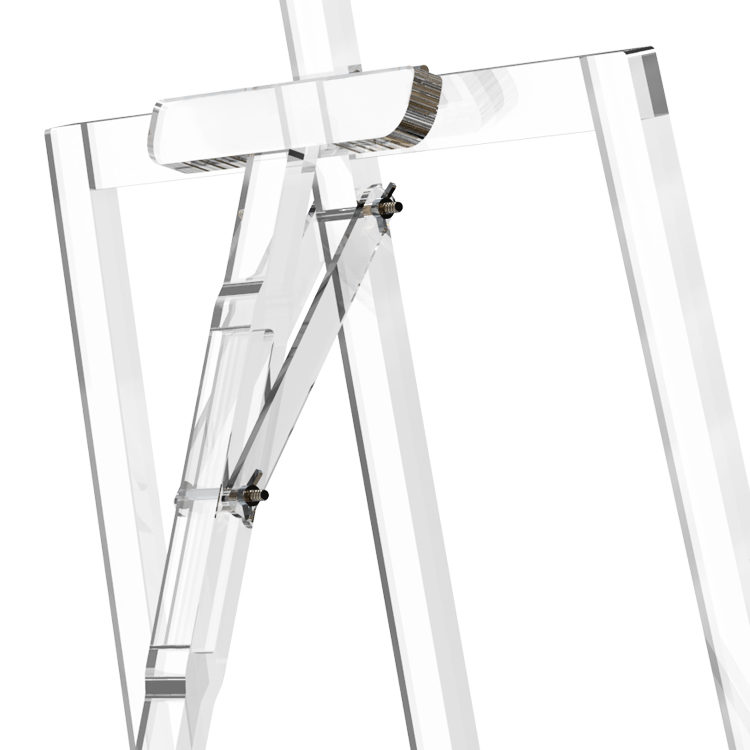 Custom Modern Acrylic Clear Tripod Easel Drawing Stand Drawing Rack Display for showroom