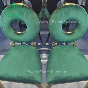 Gold metal frame and green velvet cushion dining infinity chair for wedding