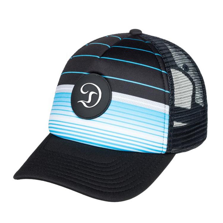 Custom Black Printed Trucker Hats Rubber Patch Baseball Mesh Trucker ... 9304fbcb738b