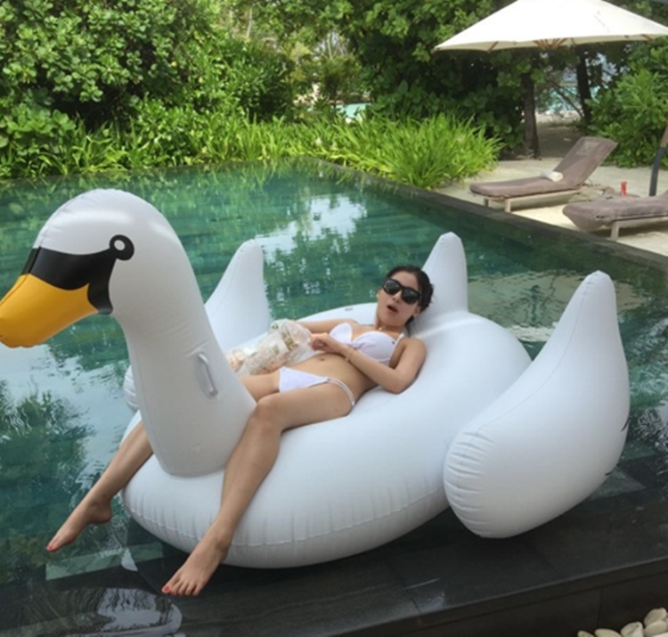 Inflation Pool Float Giant white black gold swan