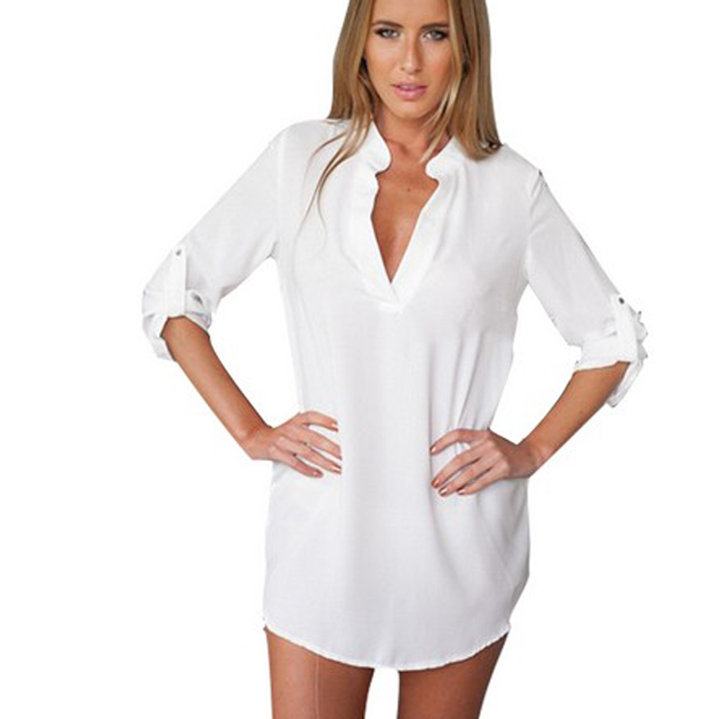 Women sleepwear shirt images Long cotton sleep shirts