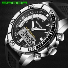 Top Herenhorloge Luxe Geïmporteerd Quartz Analoge Digitale Led Klok Sport Waterdichte Dive <span class=keywords><strong>Shock</strong></span> Militaire Sanda Horloges Mannen 2017 Nieuwe