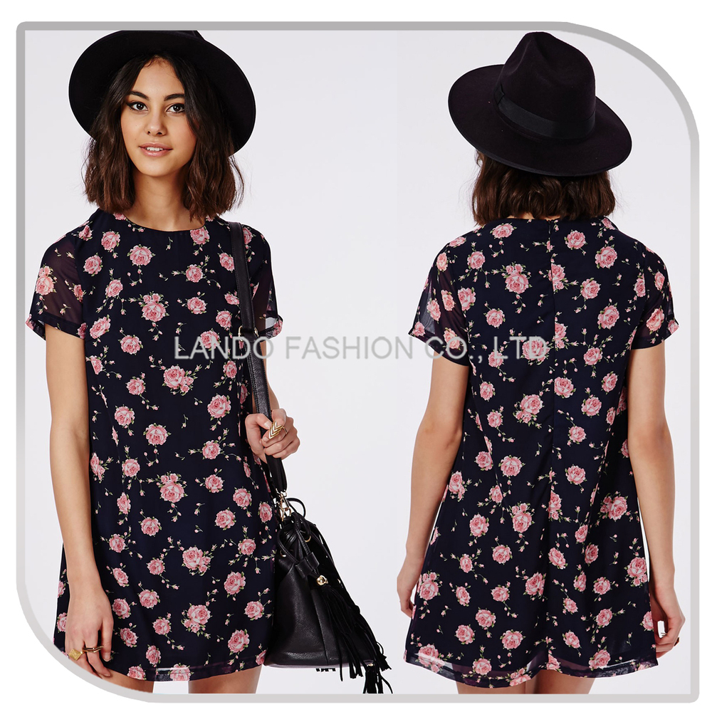 Shirt design ladies 2015 - 2015 New Design Young Ladies Flowers Patterns Printed T Shirt Dress