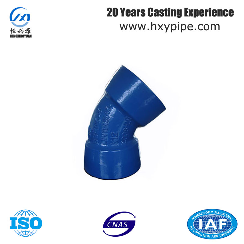 45 Degree Pipe Fittings Double Socket Bend for PVC Pipe