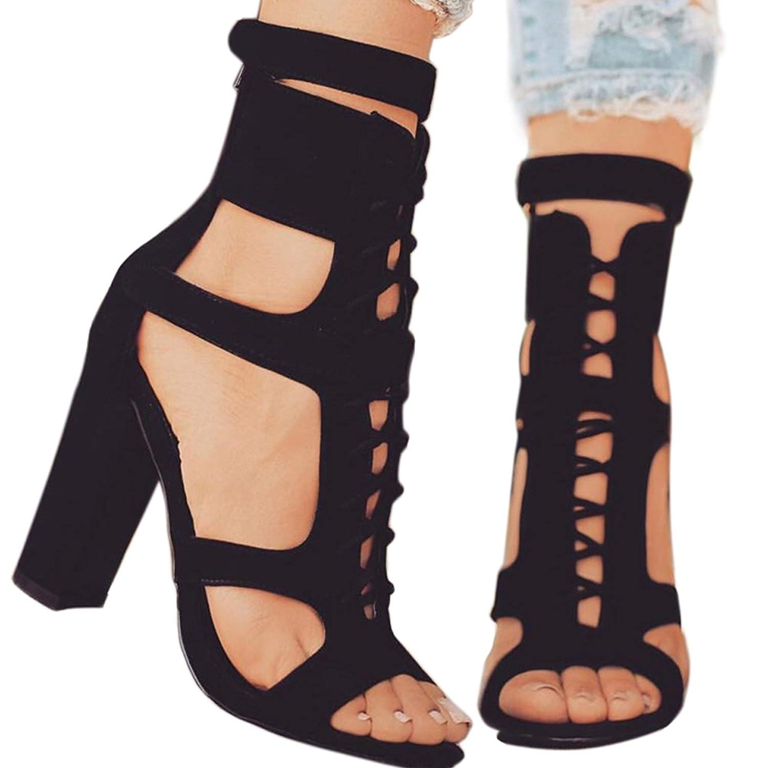 b5ff4314c Get Quotations · Women s Caged Sandals Black Open Toe Chunky Stacked Heels  Strappy Lady Shoes