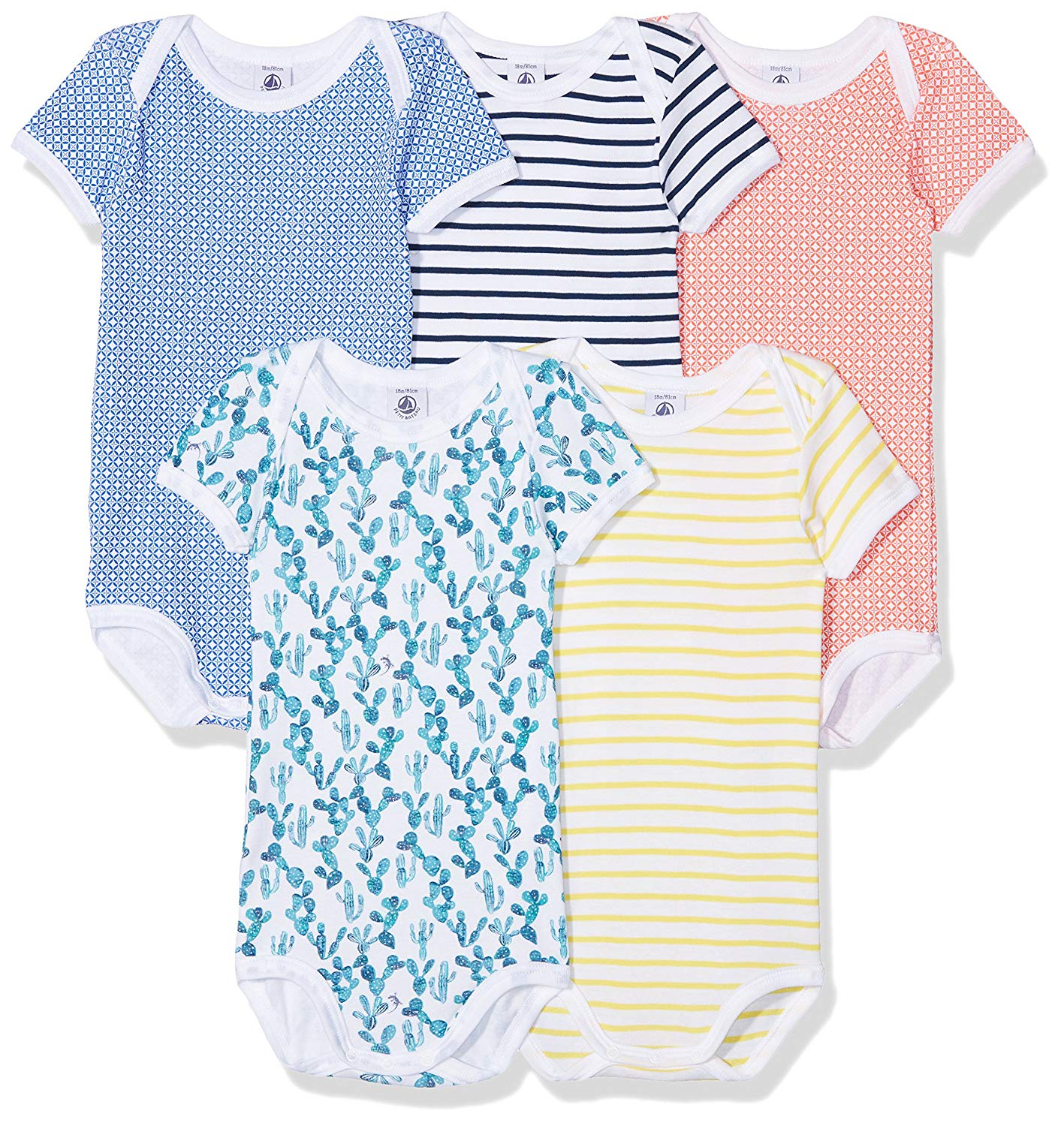 7db81859163 Get Quotations · Petit Bateau Baby Boys Short Sleeves Bodysuits 5 Pack  Sizes 3-36 Months Style 27625