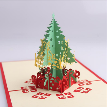hot sale christmas new year day 3d christmas tree greeting cards - Cheapest Christmas Cards