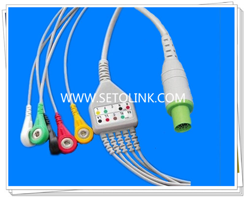 One piece 5 leads ECG cable for Hellige CardioServ, VICOM-sm