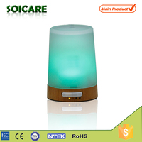 100ml wood+glass essential oil air purifier with colorful led light