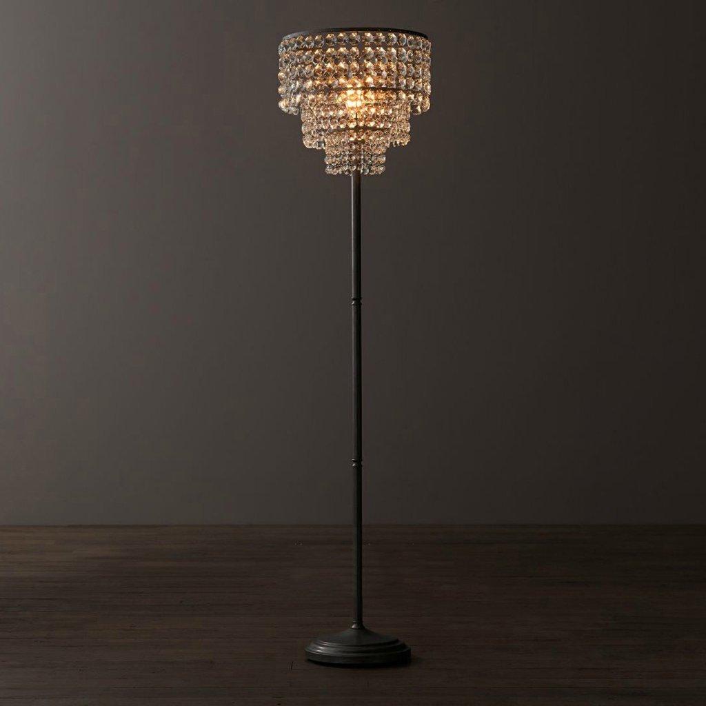 Edge To Floor lamp American Retro Crystal Floor Lamp Simple And Modern Bedroom Lamp Study Lamp Living Room Floor Lamp