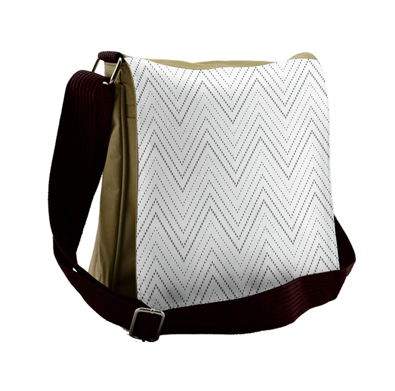 Lunarable Chevron Messenger Bag, V-shaped Pattern Greyscale, Unisex Cross-body