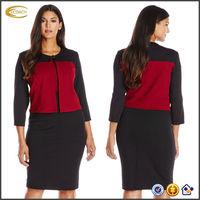 OEM wholesaler Plus Size Long Sleeve 2 Piece Jacket formal office dresses for women lady suit