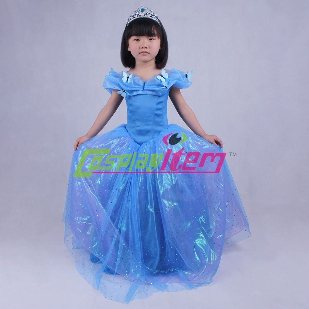 Cinderella 2015 Costumes Girls Dresses Shoes Jewelry: 2015 Newest Customized New Cinderella Dress Movie Cosplay