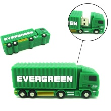 Mini mobil Kontainer trailer kargo truk <span class=keywords><strong>USB</strong></span> Flash Drive hijau Pen Drive 32 GB 16 GB 8 GB 4 GB Flashdisk <span class=keywords><strong>USB</strong></span> 2.0 U Disk