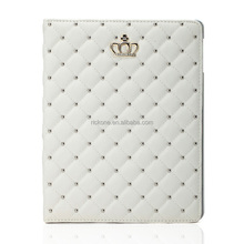 Fashion PU Leather Crown Design Bling Protective Smart Stand Case Cover with Auto Wake/Sleep for Apple iPad