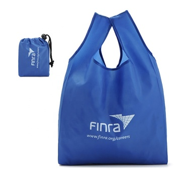 Customized attached pouch reusable small pocket tote foldable polyester shopping bag