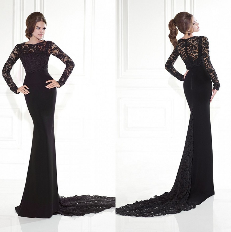 18ba3e560a1f Buy Top Selling Mermaid Fitted Party Dress Mother of the Bride Lace Dress  Black See Through Long Sleeve Evening Dress 2015 in Cheap Price on  m.alibaba.com