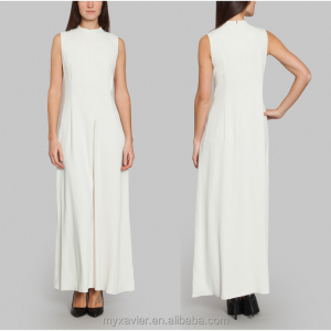 Cream maxi dress high round collar sleeveless design back zip closure long style pleated skirt xxl size women casual dress