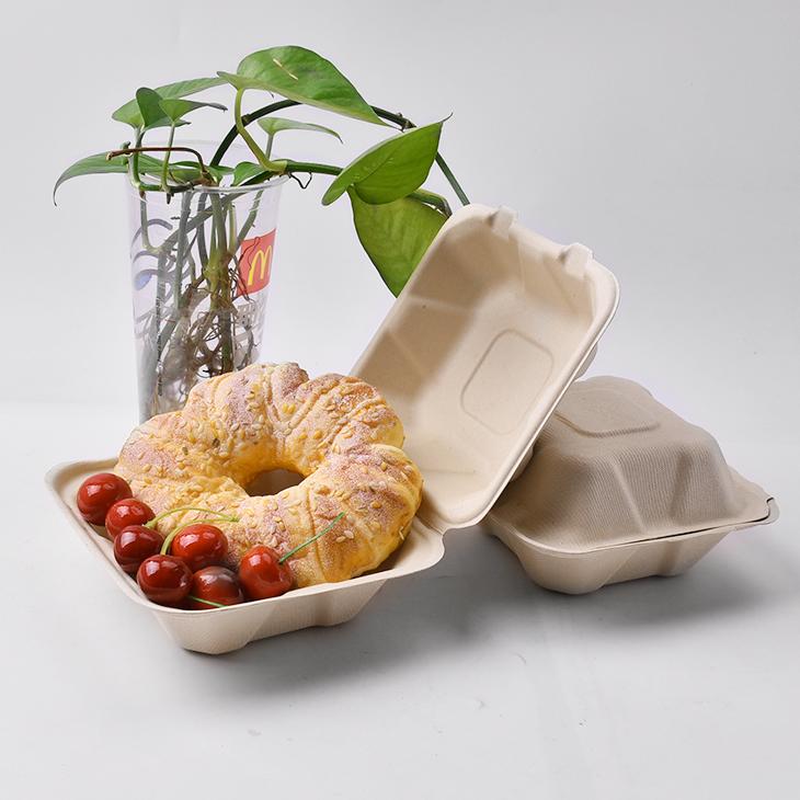 A6 แฮมเบอร์เกอร์กล่องย่อยสลายได้บนโต๊ะอาหารของอ้อยอาหารคอนเทนเนอร์