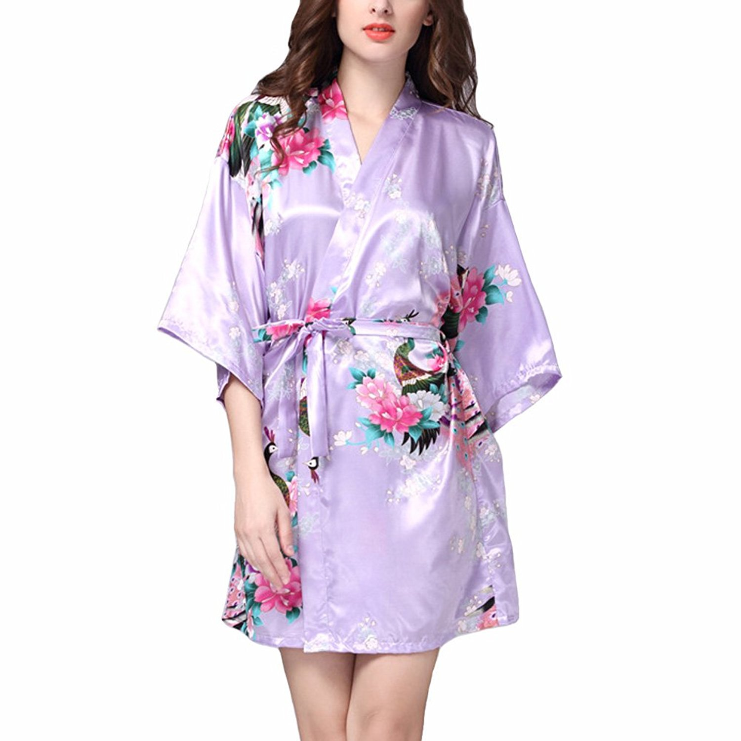 f5737438292 Get Quotations · SUITEASY Women Satin Nightwear Printing Peacock Kimono  Robe Bridal Robe