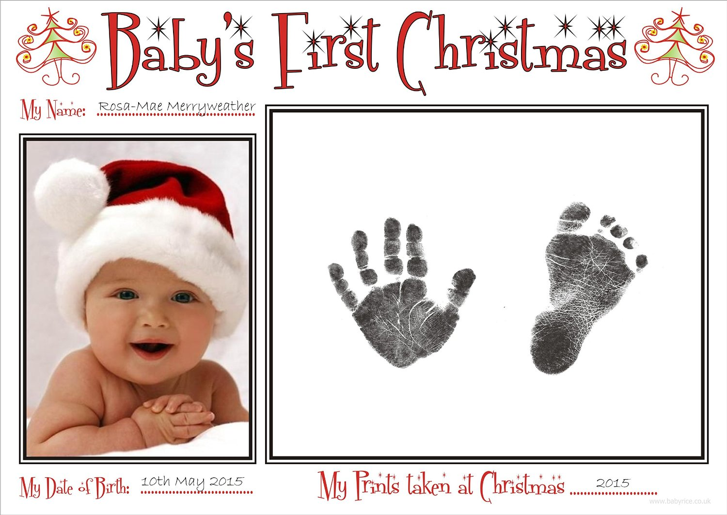 BabyRice New Baby's First Christmas Handprint & Footprint Kit / Boy Girl Unisex Babys Prints on 1st Xmas