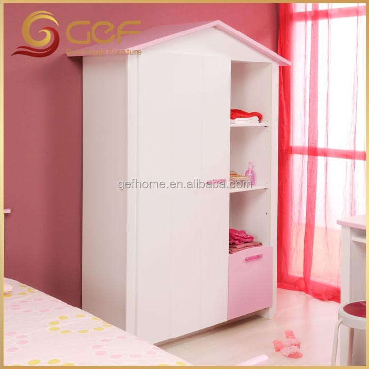 House shape kids wardrobe wooden cloth cabinet GEFKB101 View