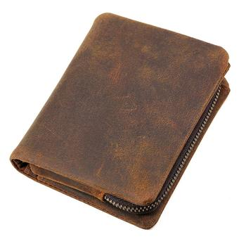 Tiding Vintage Men Coin Purse Card Holder Thick Leather Wallets Genuine Leather With coin pocket