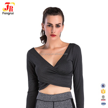 Cody Lundin Sexy Sport Wear Women Black Long Sleeve Cross Fit Crop Top
