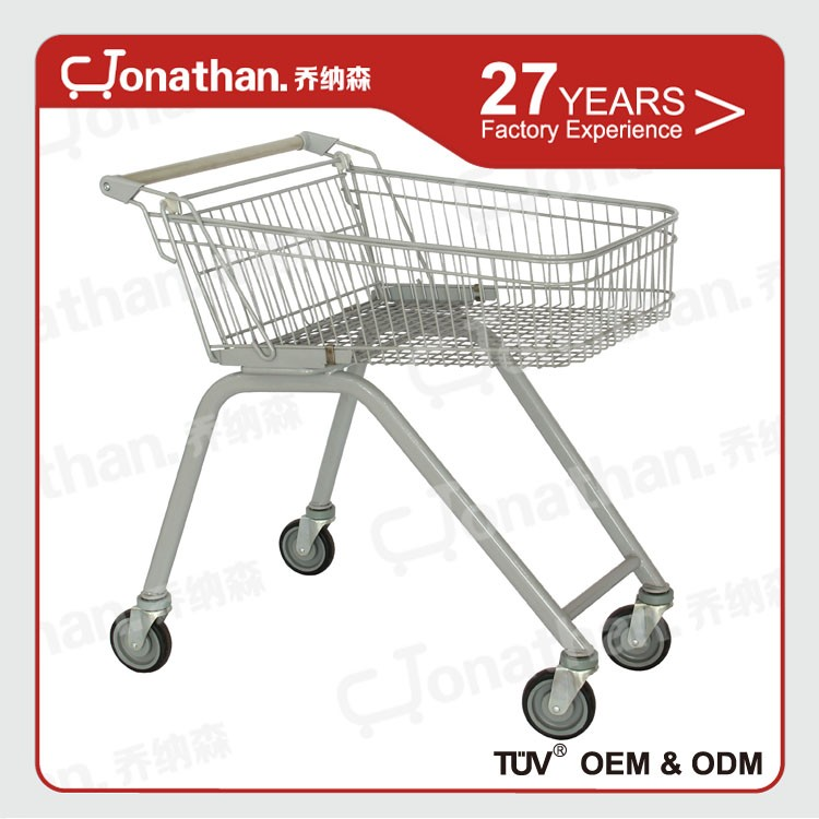 Unfolding used supermarket trolley with advertisement handle tube