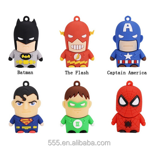 Superhero cartoon character usb flash drive, flash drive usb, cute cartoon 8gb usb flash drive bulk 1g 2g 4g 8g 16g 32g 64g