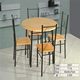 Simple Living Modern Moulded Board and Iron Leg Small Round Dining Set or Kitchen Table for 4