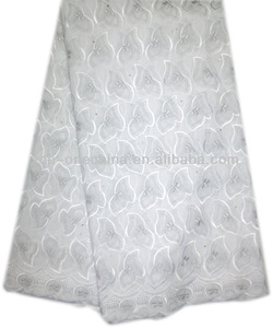 wholesale cheap price white african lace fabrics/voile lace in switzerland(9033-5)