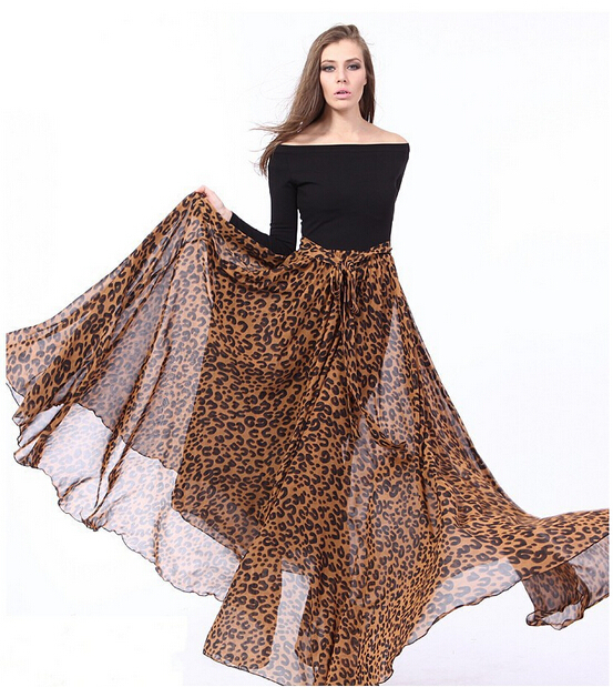 6XL 7XL Plus Size Bohemian Chiffon Spring Autumn Leopard Dress Long Sleeve  Black Maxi Bodycon Vetement Femme Women Clothing