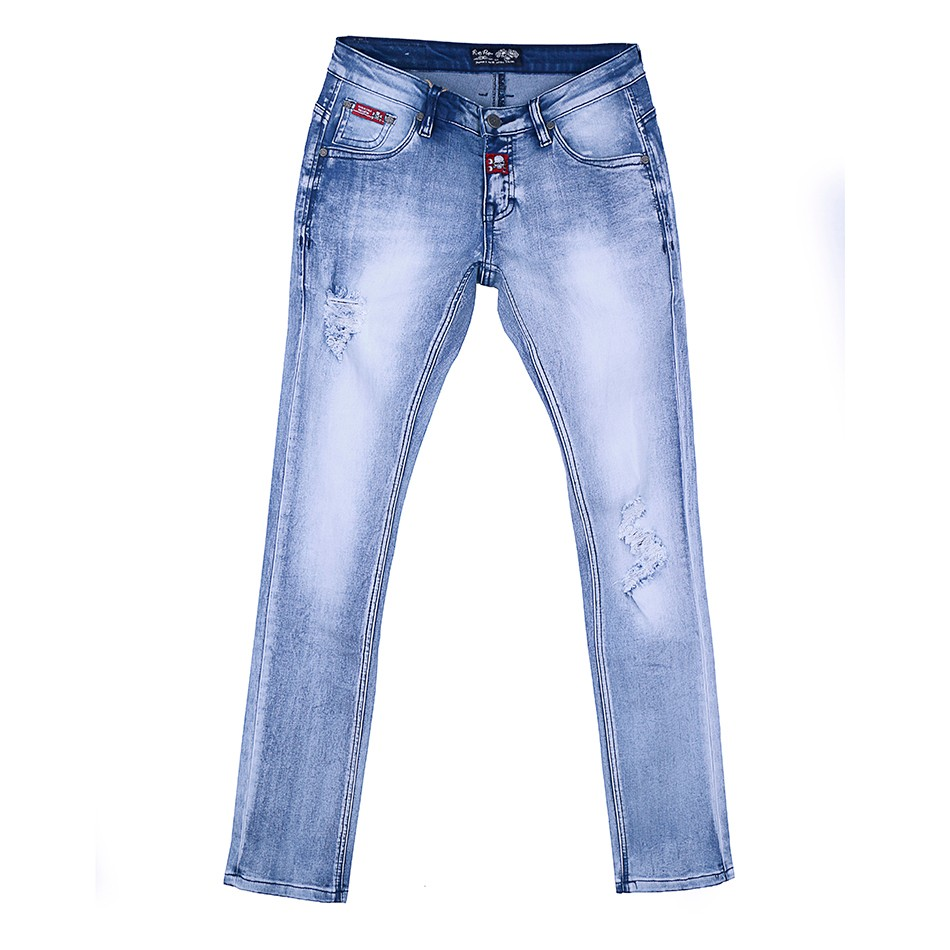 Fashion style 5 pocket style trousers dirty washed handbrush ripped jeans tight denim pants low waist stretch jeans