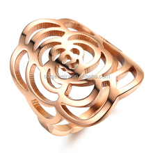 SSR04220013 Alibaba Wholesale Statement Female Fashion Floral Charms Rose Gold Rings