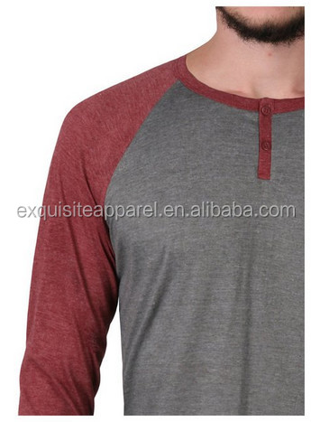 Custom Two-color Long Sleeve T-shirt/lightweight Henley T Shirt ...