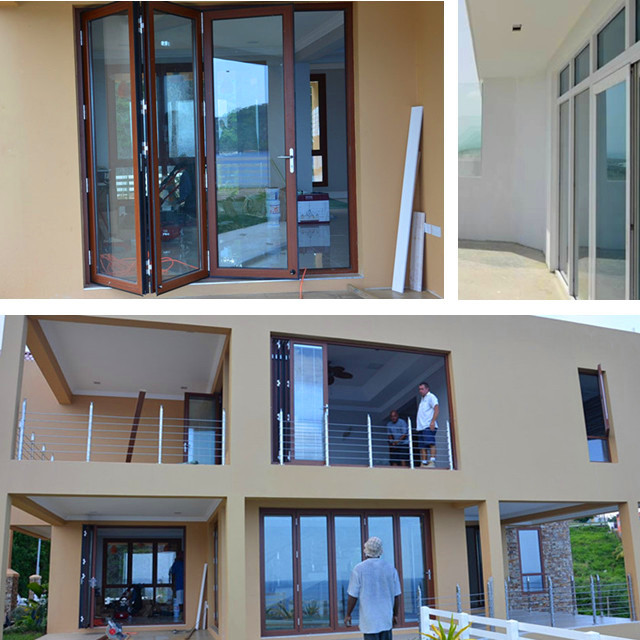 Aluminum exterior bifold door with 6mm double tempered glass