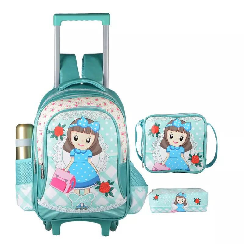 Factory New design Polyester Kids Trolley school bag for girls