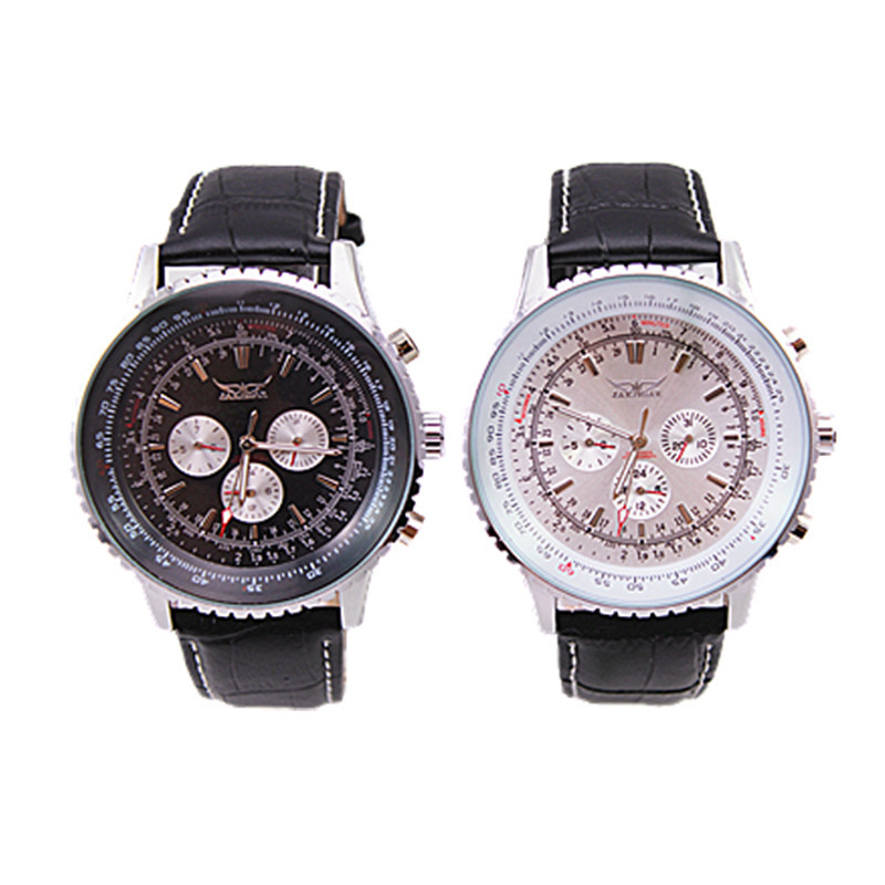 1pc/lot freeshipping 100% genuine leather band automatic self-wind jaragar watch