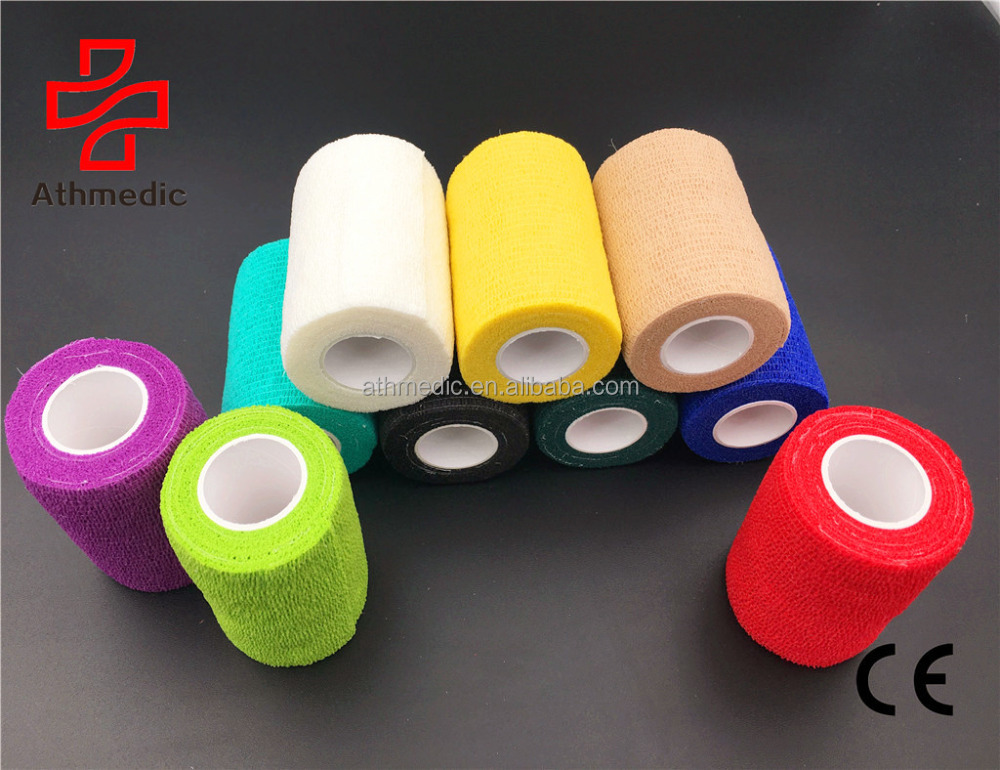 2020 Athmedic 7.5cm*4.5msport China pet horse Self Adhesive Elastic Support Wrap <strong>Protective</strong> Tape Cohesive Dressing