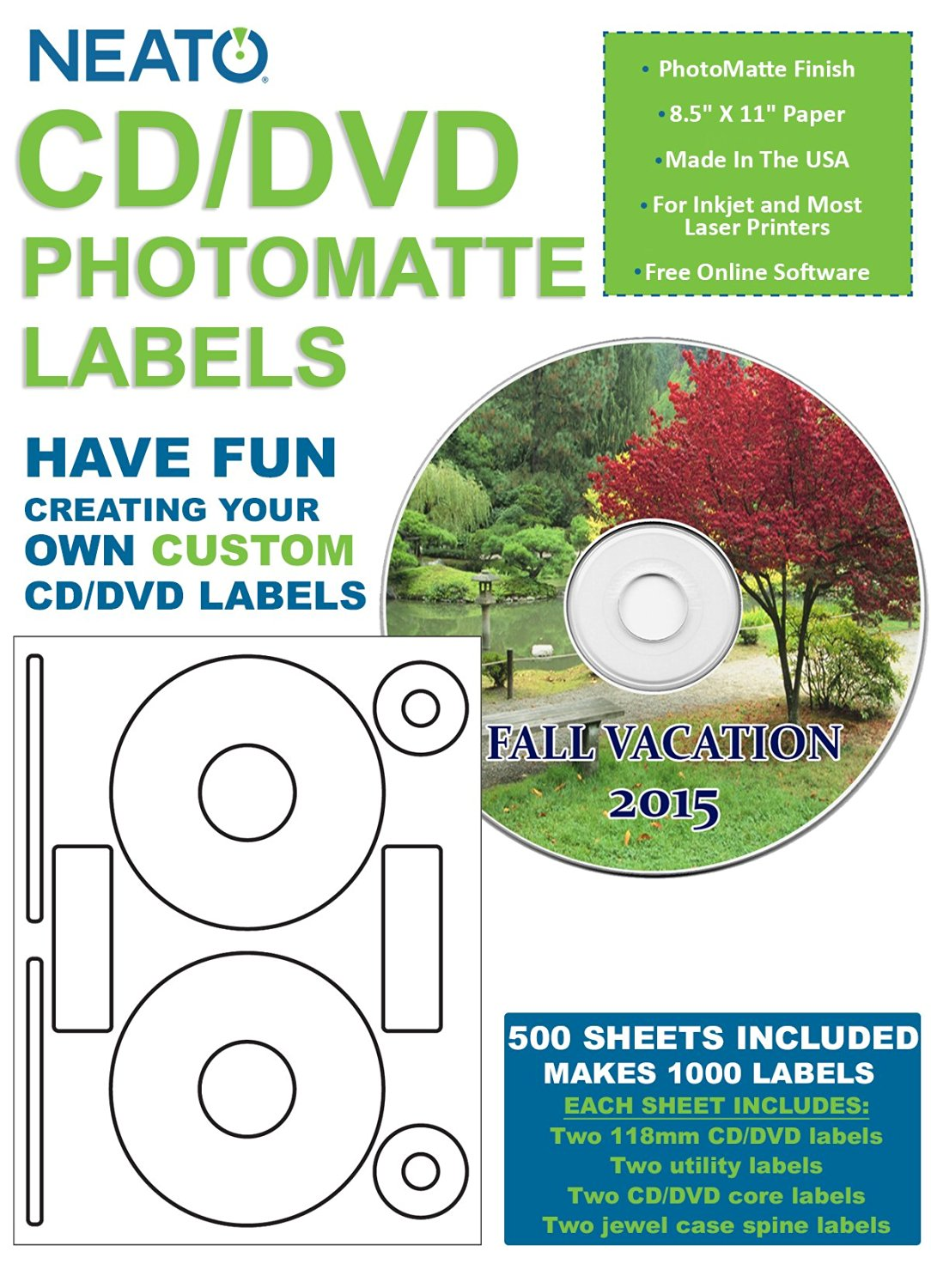 graphic relating to Printable Cd Labels referred to as Invest in Neato Photomatte Blank Printable CD Labels - DVD Labels